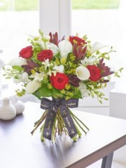 Luxury Red Rose and White Calla Lily Hand-tied