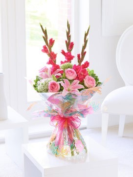 Summer Gladioli, Lily and Rose Hand-tied