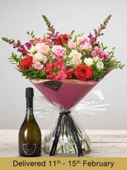 Raspberry Romance Hand-tied with Prosecco